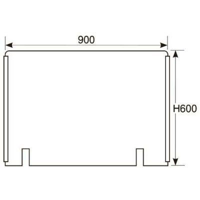 アクリル板 W900×H600切込み有/スライドカバー付