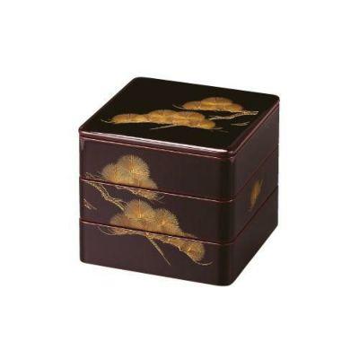 木製6.5寸三段重 溜内朱漆塗 本金沈金枝松