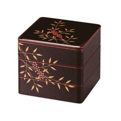 木製6.5寸三段重 溜内朱漆塗 本金手書き蒔絵南天